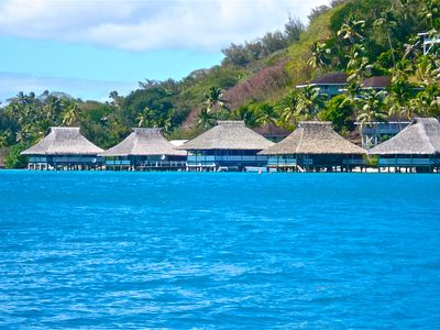 Bora Bora house rental - Brando's Bora Bora Bungalow is the first bungalow on the right.