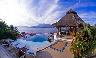 Manzanillo villa photo - Pool and Palapa with views of Santiago Bay