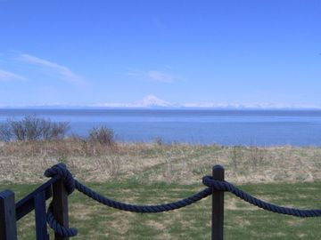 Ninilchik cabin rental - VIEW FROM DECK OF COOK INLET AND MOUNT REDOUBT