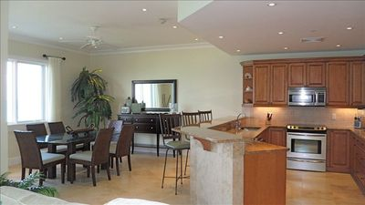 Spacious Dining Room & Kitchen with glorious ocean view