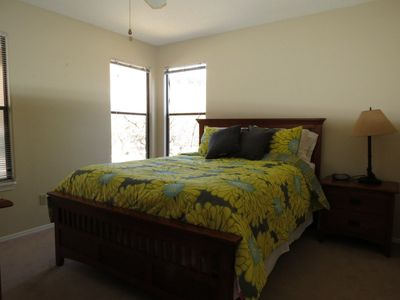 Queen size bed in the Master bedroom.  There is also a large walk in closet.
