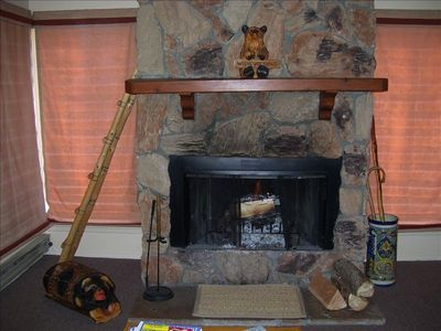 Large wooden burning Fire Place in Living room, Lots of Free firewood