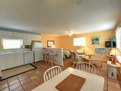 Fully equipped kitchen with microwave, dishwasher.
