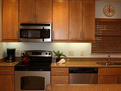 Completely renovated kitchen that is well stocked for all your cooking needs