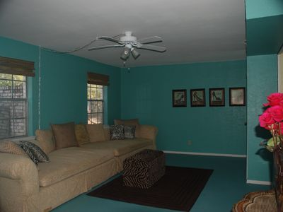Spacious living room in Unit #3 has a 12 ft sofa & TV (not shown)
