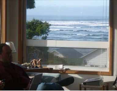 Ocean view from great room, ever-changing because tides empty and fill the bay.