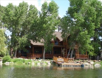 Pinetop cabin rental - Rainbow Lake cabin with large covered porch and breath-taking views
