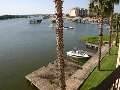 View from the upper deck--marina, day docks, and the lake.
