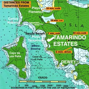 Tamarindo apartment location map