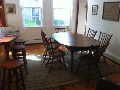Nantucket Town house rental - Dining room seats 6 as shown or 8 with extra table leaf put in.