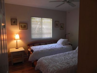 Second bedroom with twin beds. New clean linens, down pillows.