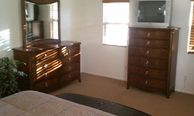 Master bedroom dressers and TV