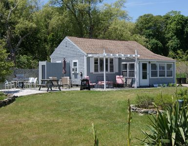 Eastham house rental - Outdoor living area(s), gas grill, ample yard, outside shower, view to cove