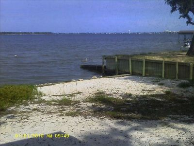 "Front ""yard"" view of the bay and access to the water. Green heron on jetty."