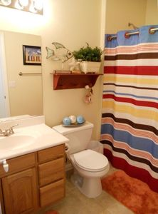 This bathroom is located right off the master suite, the shower has 2 seats.