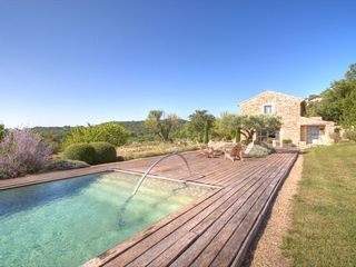 Gordes farmhouse photo - Pool and Deck area with amazing views over the Val
