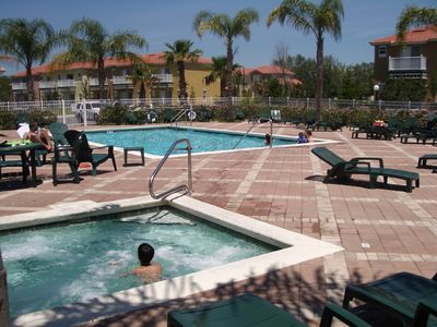 Emerald Island townhome rental - Pool and Spa with shower and changing closest to our home
