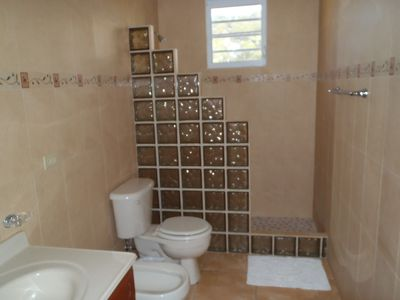 Isabela house rental - Master bath, shower, toiletl, bidet. vanity.