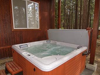 Relaxing hot tub, ready to massage sore muscles.