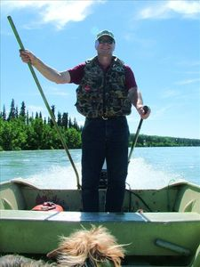 Mike in his riverboat on the Kenai River, just downstream of the Moose River.