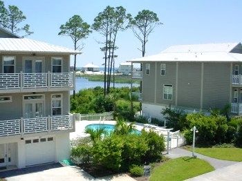 Dune Allen Beach townhome rental - View of Pool, Lake and Gulf from second floor balcony.