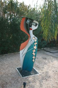 Your eye will find original metal and glass sculpture placed for your interest