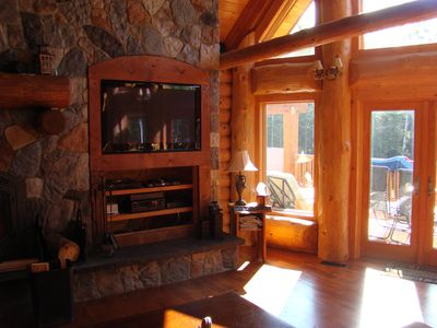 30 ft Stone Wall with built-in TV Cabinet and Fireplace
