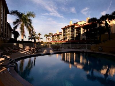 Indoor-outdoor pool has gulf view, too! Pool is heated and we have saunas, too.