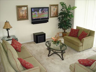 Comfy family area with surround sound theatre TV