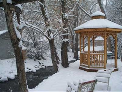Gazebo  in the majestic fall snow, hot tub in gazebo now!