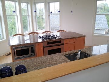View of kitchen, Gas cook top, microwave, Thermador oven, New Dishwasher