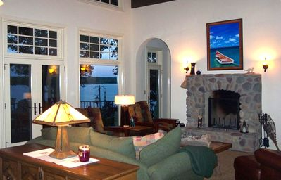 Living Room with river rock fireplace.