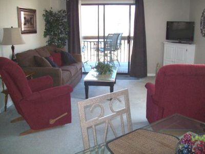 Dining area to Liv Room New Sofa Sleeper -2 comfy recliners -walk out to deck