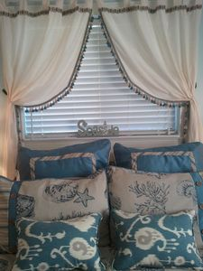 All New Master Bedroom Bedding... What a great beachy bedroom!