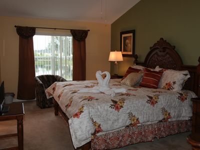 Club Cortile townhome rental - Upstairs Masterbed Room with a King Bed and Water View