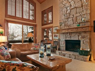 Deer Valley townhome photo - Cozy,comfortable living area with wood burning fireplace, great view of mountain