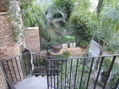 Outdoor stairs to patio/gardens
