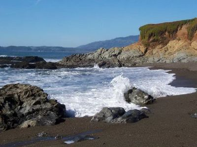 Beautiful water and rock view in Cambria. This is not a view from the home.