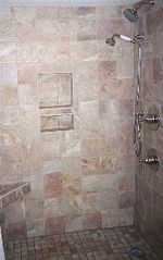 Wrightsville Beach condo photo - Update Tiled Porcelain Shower with Built in Shower Seat