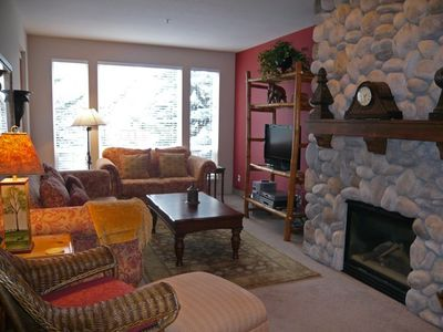 Ketchum condo rental - Custom Built River Rock Fireplace