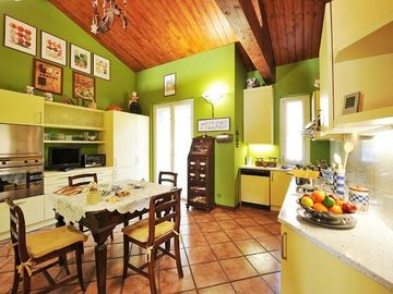 The stylish separate kitchen