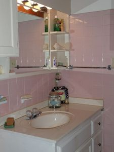 Vintage pink tile in bath. Large walk-in shower.