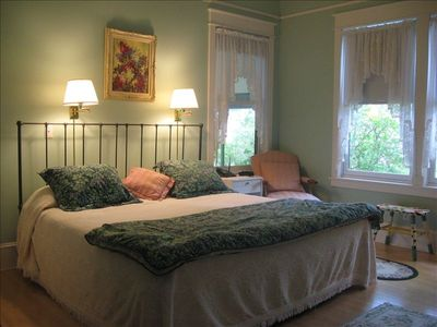 Master Bedroom:  king bed, full bathroom, ceiling fan, closet, dresser