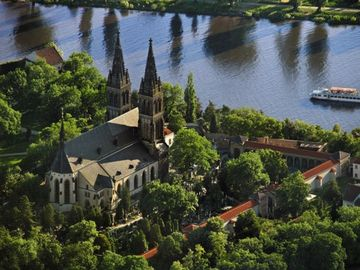 The Vysehrad Castle and Vltava river