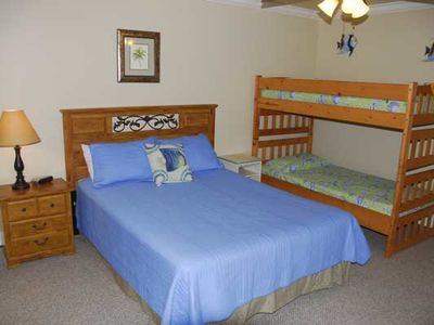 3rd Bedroom queen with bunk beds, with private bath and balcony
