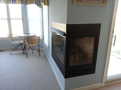Two-sided fireplace is great in cold weather