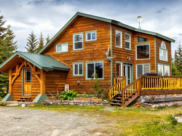 Homer house rental - Entry and patio area of Caribou Meadows