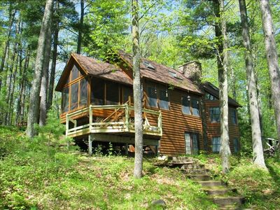 Awesome post & beam cabin, attached screen porch & deck, 3 BR/2 BA, window a/c
