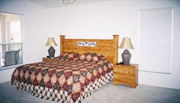 The master bedroom.... beautifully furnished with a Queen sized bed.