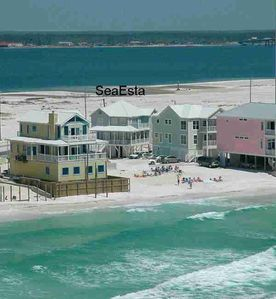 SeaEsta Viewed From Gulf. Now a berm and more beach between houses and Gulf.